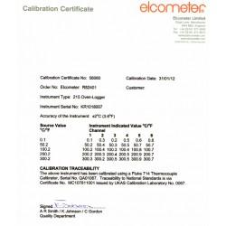 Certyfikat kalibracji dla piecowego miernika temepratury Elcometer 215 Standard lub Top